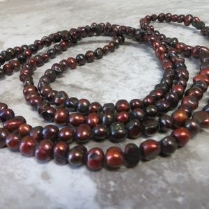 Genuine Cognac Copper Brown Pearl Necklace